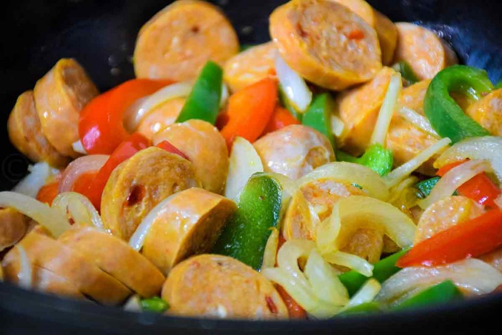Sausage, Onions, and Peppers in a skillet