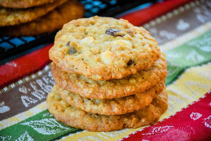Banana Walnut Chocolate Chunk Cookies in a stack