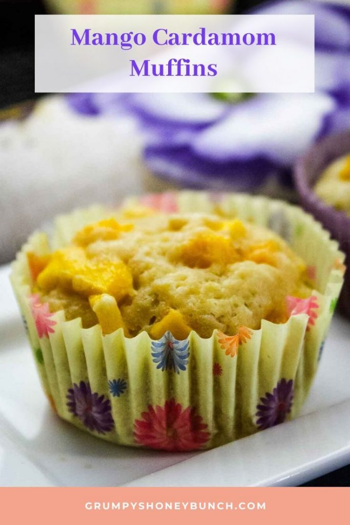 Pinnable Image for Mango Cardamom Muffins