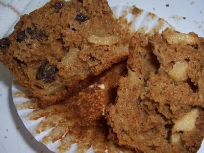 A baked bran muffin cut in hald