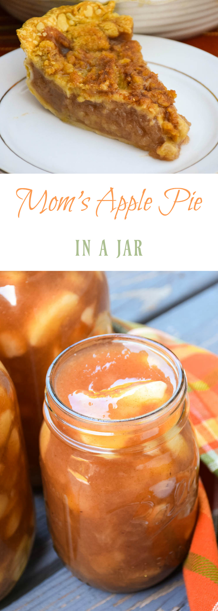 Mom's Apple Pie Filling in a Jar - a great item to have on hand in your pantry! Great for pies, doughnuts, topping ice cream, and the list can go on and on!