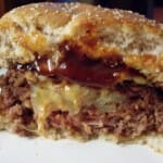 Cheese Stuffed Burger cut in half