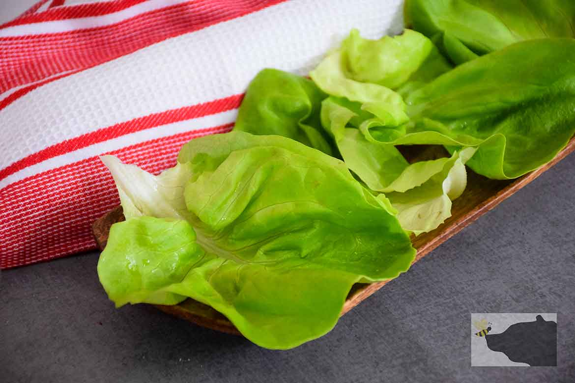 Butter Cup Lettuce leaves on serving tray