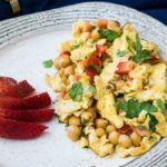 Garlic Scrambled Eggs with Chickpeas on a plate