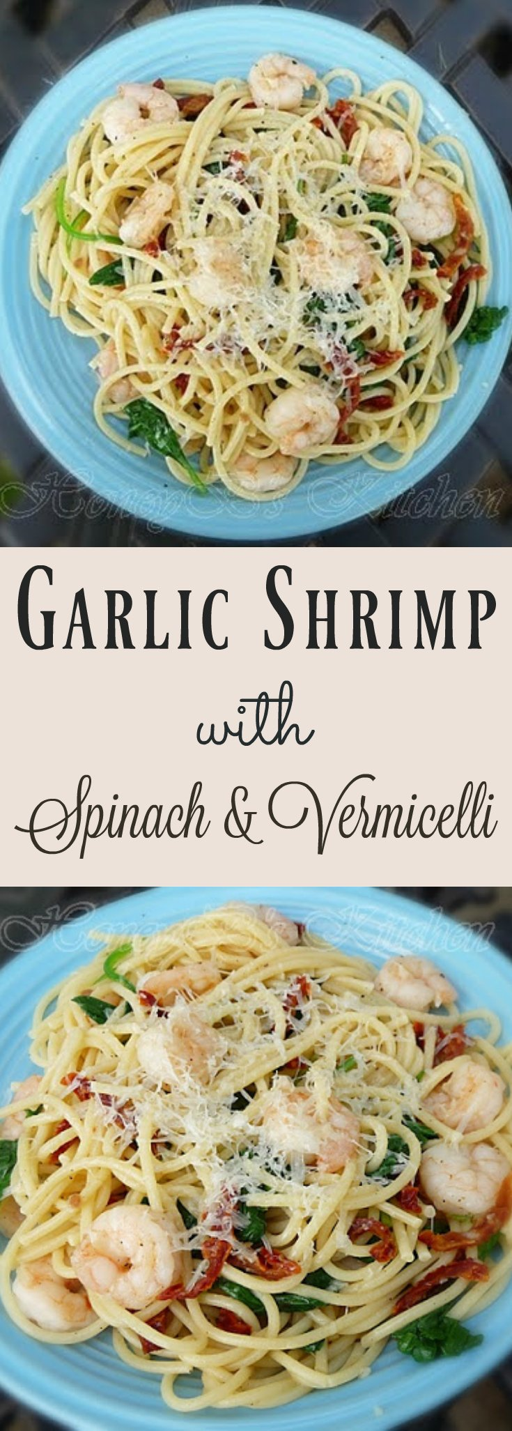 Garlic Shrimp with Spinach ans Vermicelli