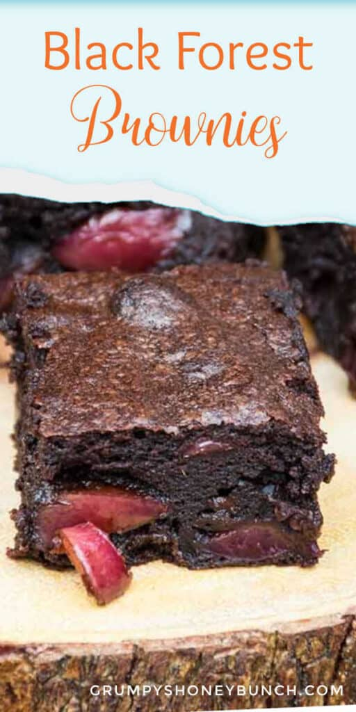 pinnable image for black forest brownies