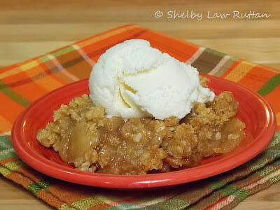 The Best Apple Crisp I ever Made on a red plate with a scoop of vanilla ice cream