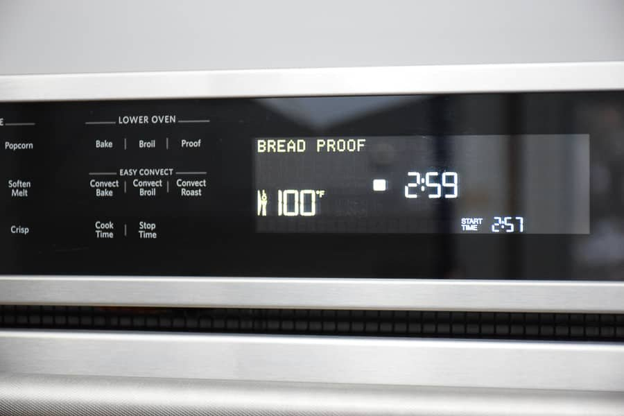 Photo of the oven on the bread proof setting.