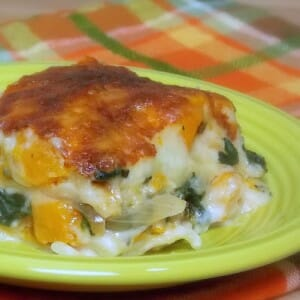 Butternut Squash, Caramelized Onion, Spinach Lasagna