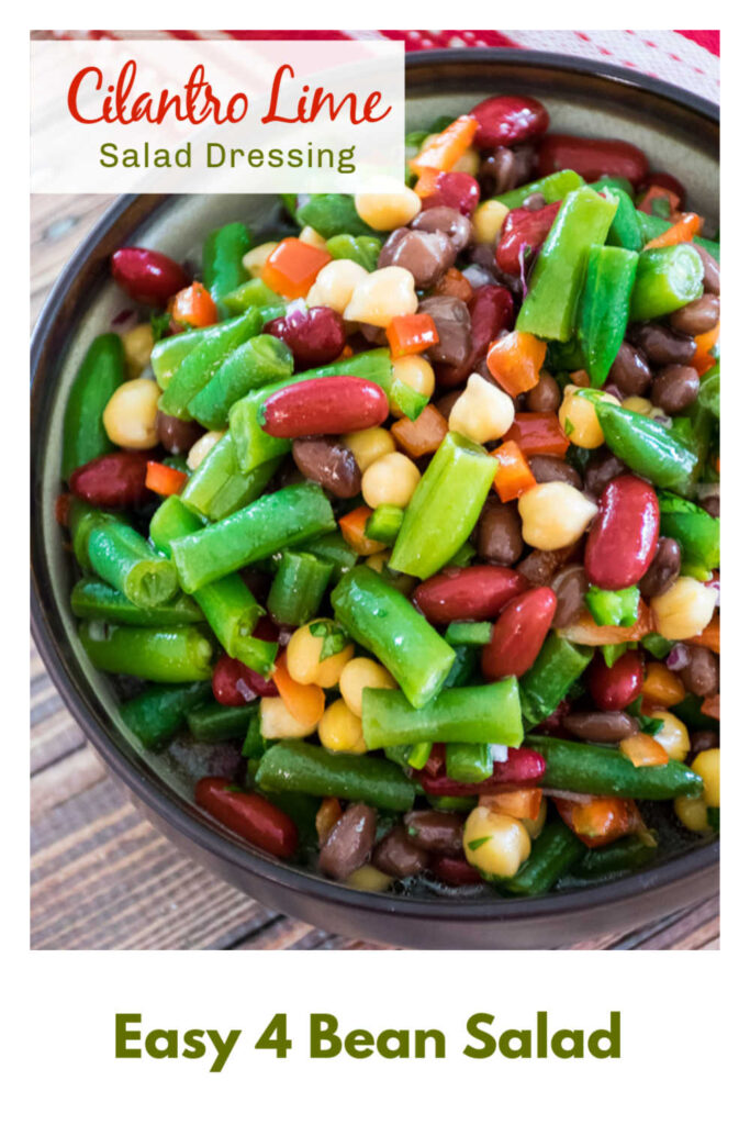pinnable image for 4 bean salad with cilantro lime dressing