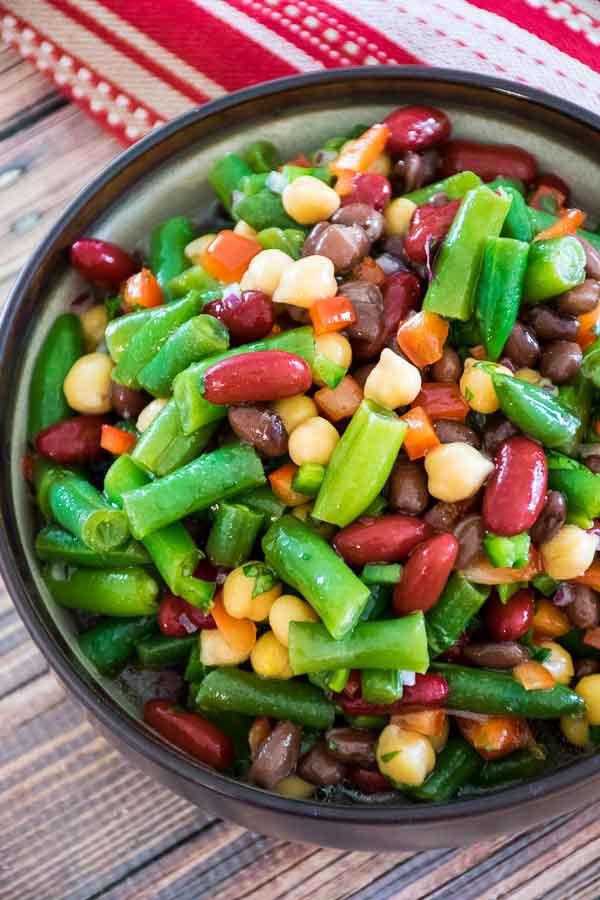 overhead shot of 4 bean salad