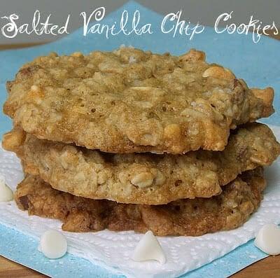 Salted Vanilla Chip Cookies #cookies #salt #vanillachips