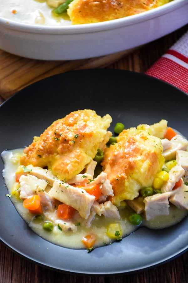 Turkey Pot Pie with Garlic Biscuit Topping
