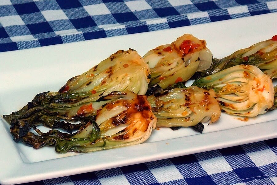 Spicy Grilled Baby Bok Choy