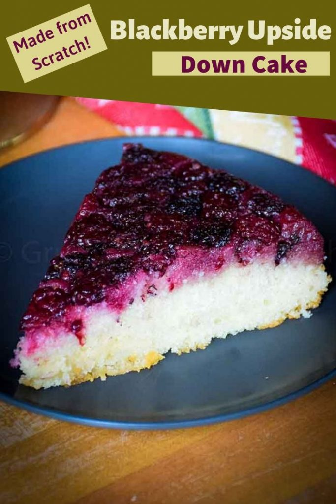 pinnable image for blackberry upside down cake