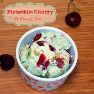 Pistachio-Cherry No Churn Ice Cream