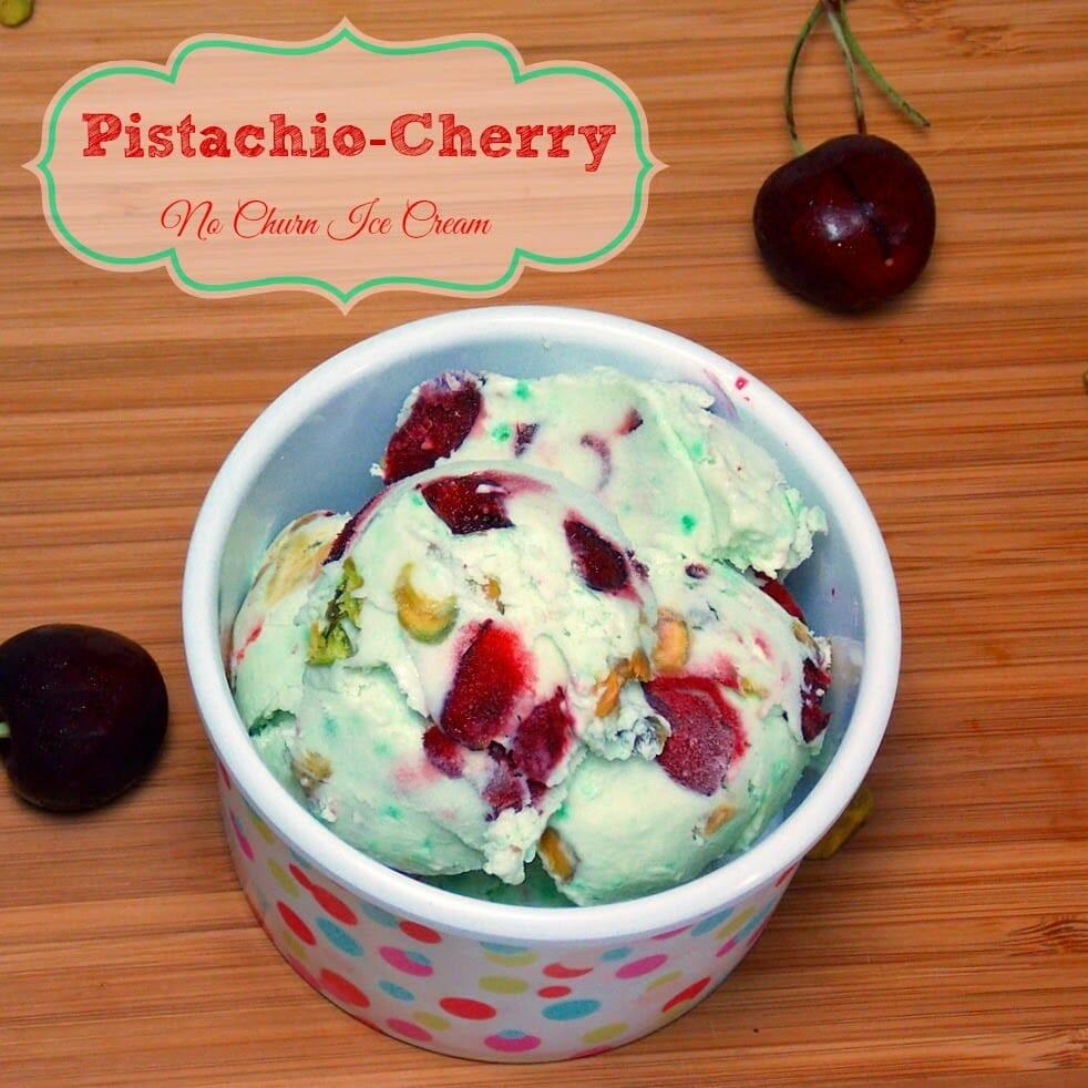Pistachio Cherry No Churn Ice Cream