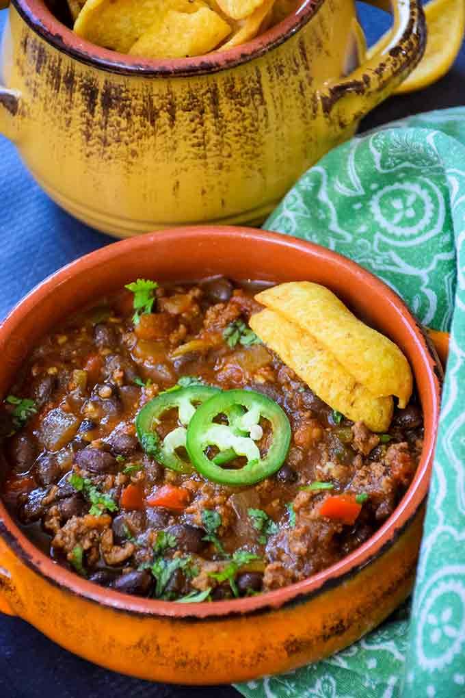 Mexican Black Bean Chili in an orange bowl