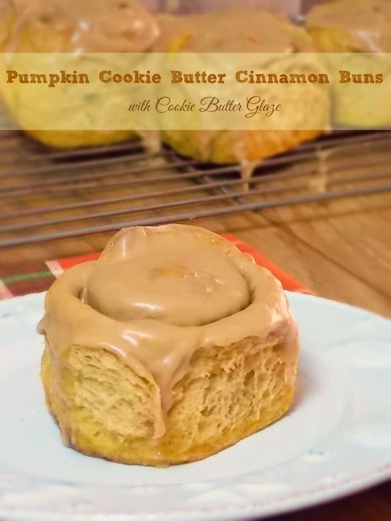 Pumpkin Cookie Butter Cinnamon Buns with Cookie Butter Glaze #SundaySupper #Pumpkin #CookieButter