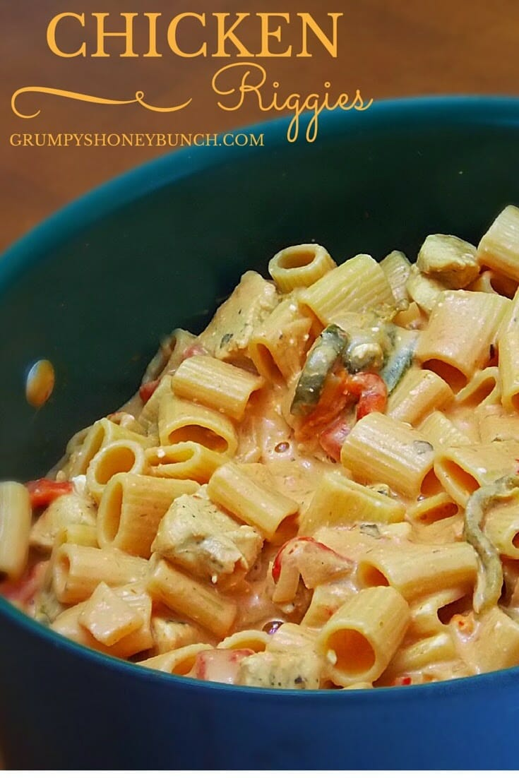 Creamy Chicken Riggies pinnable image