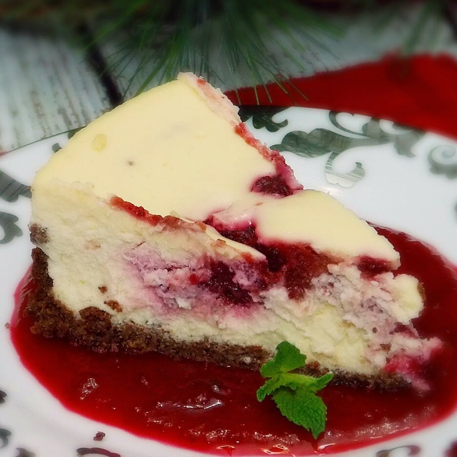 Amaretto Cranberry Swirled Cheesecake