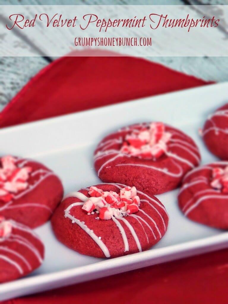 Peppermint Red Velvet Thumbprint Christmas Cookie Recipe
