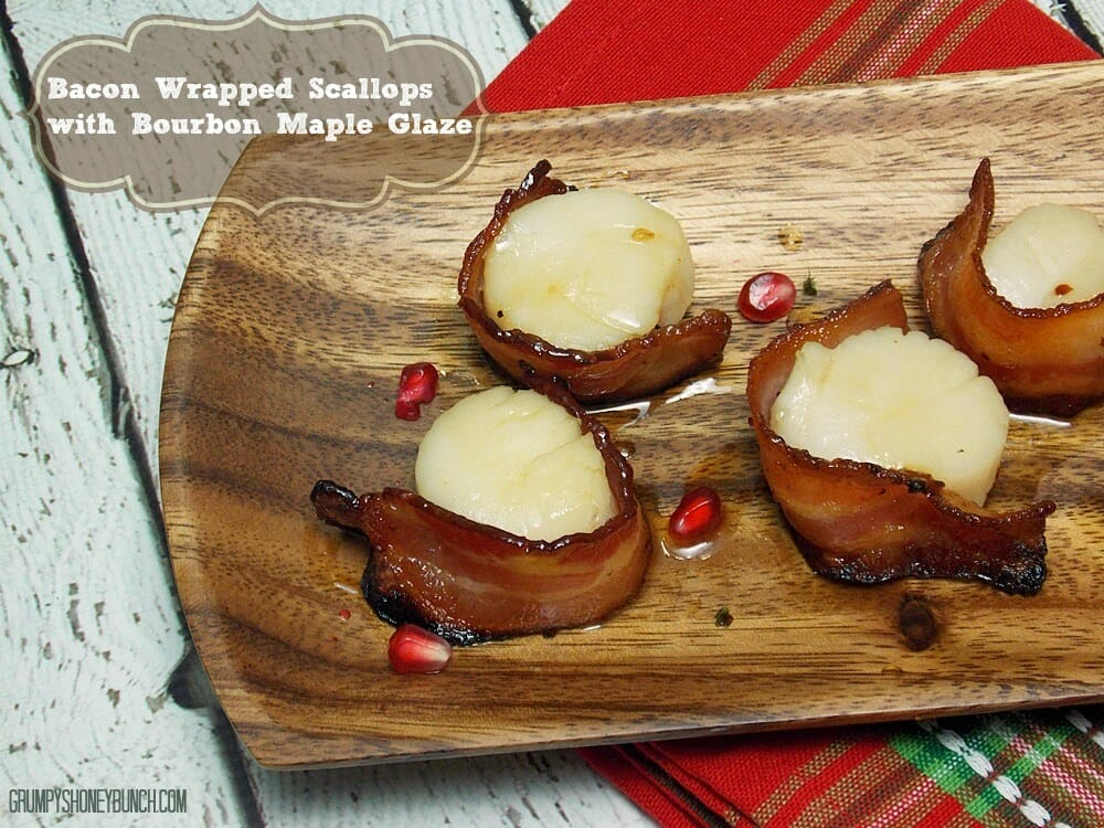 Bacon Wrapped Scallops with Maple Bourbon Glaze