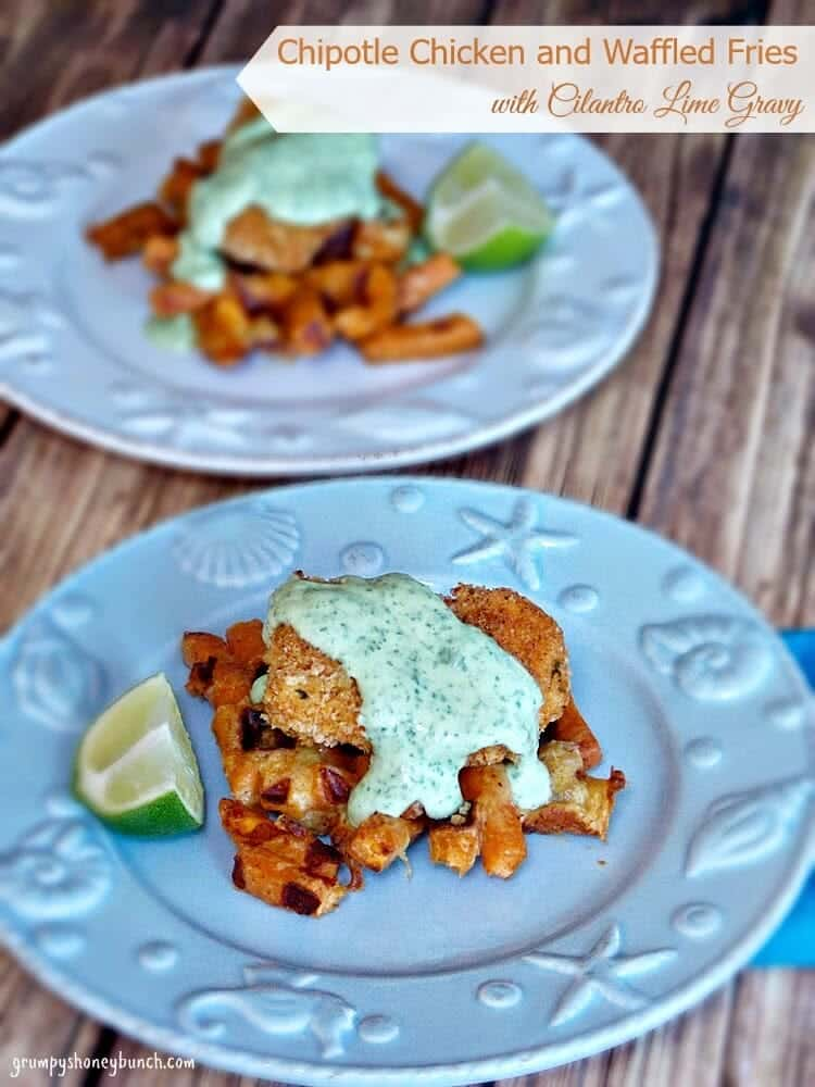 Chipotle Chicken and Waffled Fries with Cilantro Lime Gravy