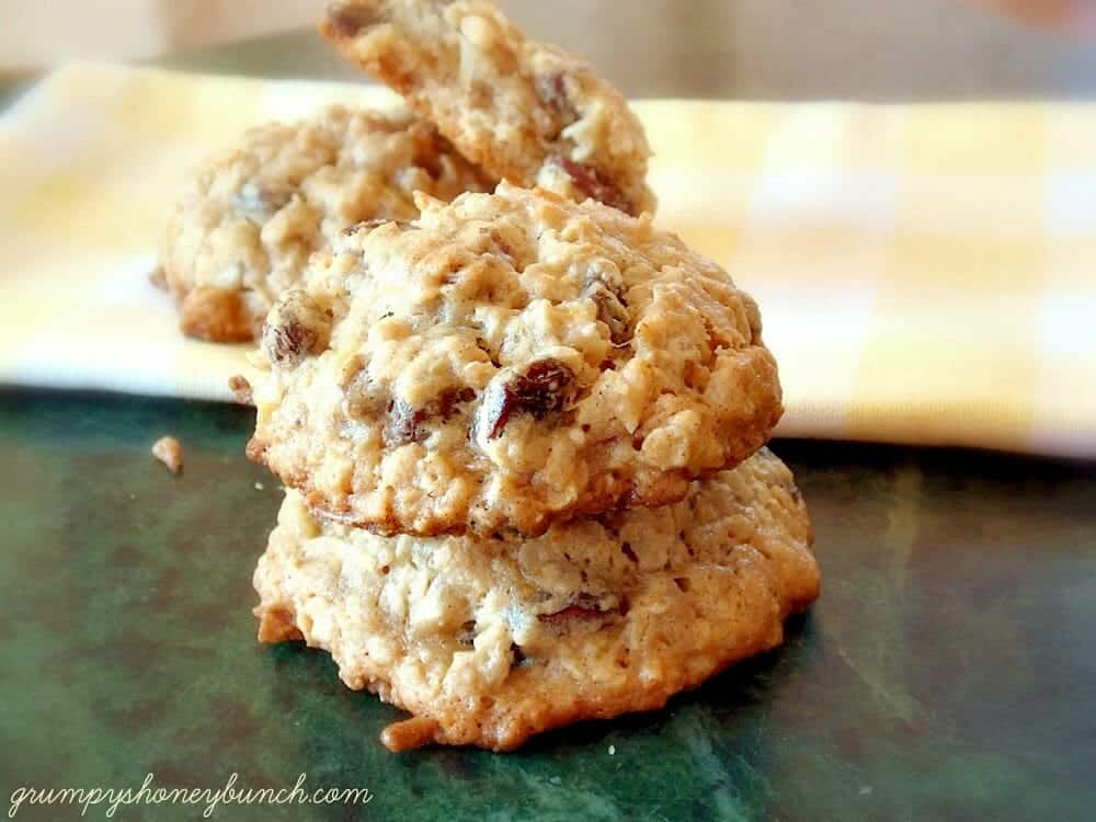 Banana Rum Coconut Raisin Cookies