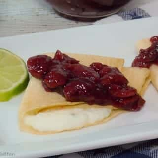 Crepes with CoconutLime Ricotta Cream & Brandied Cherries