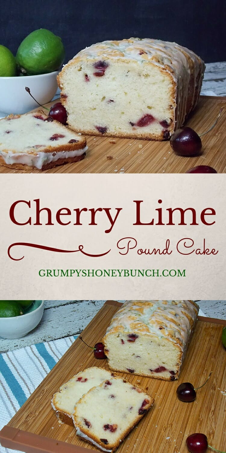 Cherry Pound Cake with Lime Glaze