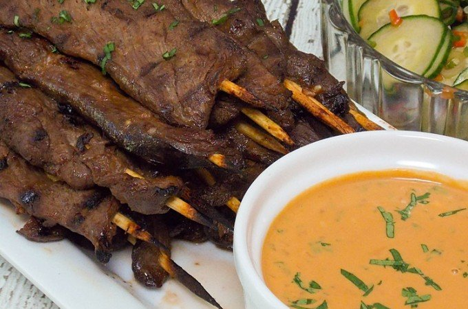 Venison Satay with Spicy Peanut Sauce