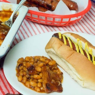 Bourbon Bacon Baked Beans with Ball Park Finest Jalapeno Cheddar Franks