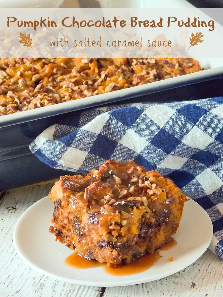 Pumpkin Bread Pudding with Salted Caramel Sauce