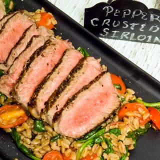 Pepper Crusted Sirloin with Warm Farro Spinach Salad