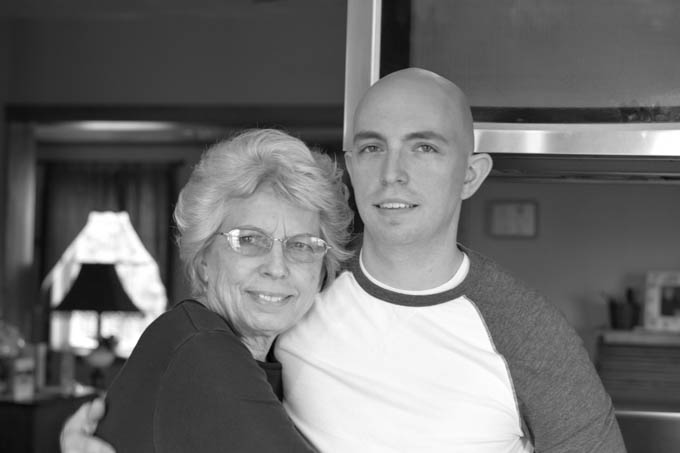 Mom and Justin, black and white photo