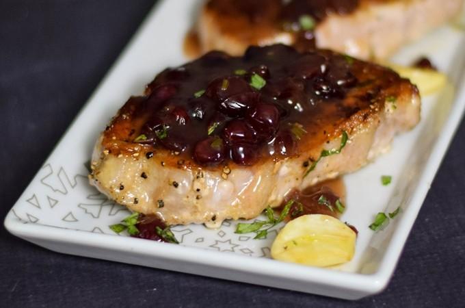 Pork Loin Steaks with Cranberry Tarragon Sauce