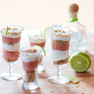 Strawberry Margarita Cheesecake Shooters