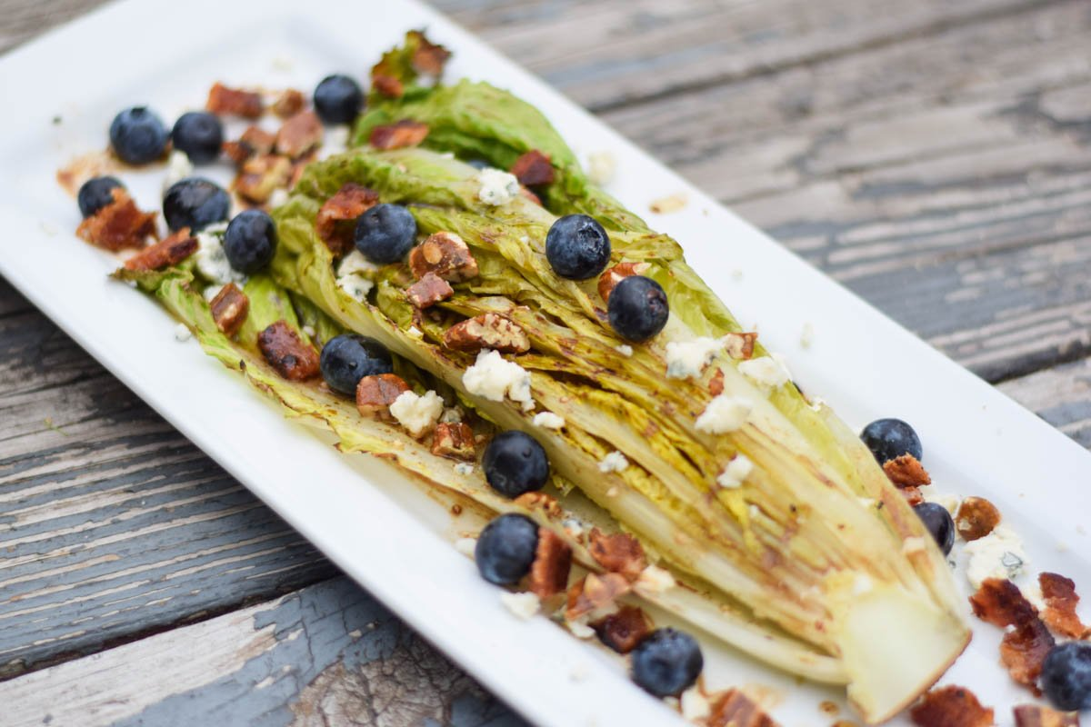 Grilled Romaine with Blueberry, Bacon, and Blue Cheese