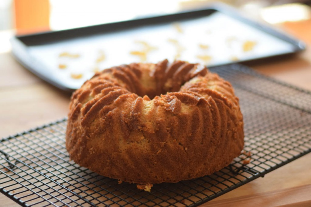 unglazed Rustic Pound Cake on cooling rack