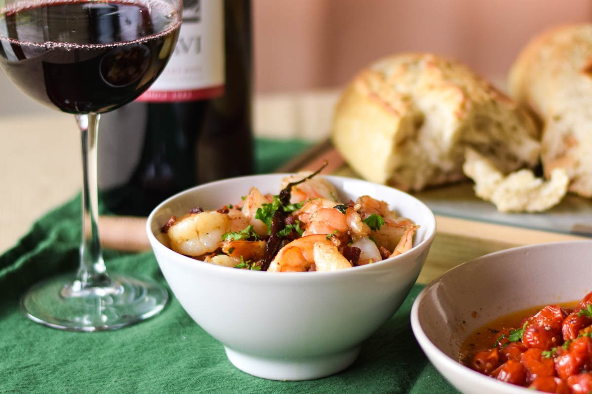 Garlicky Shrimp with Pancetta Olive Oil