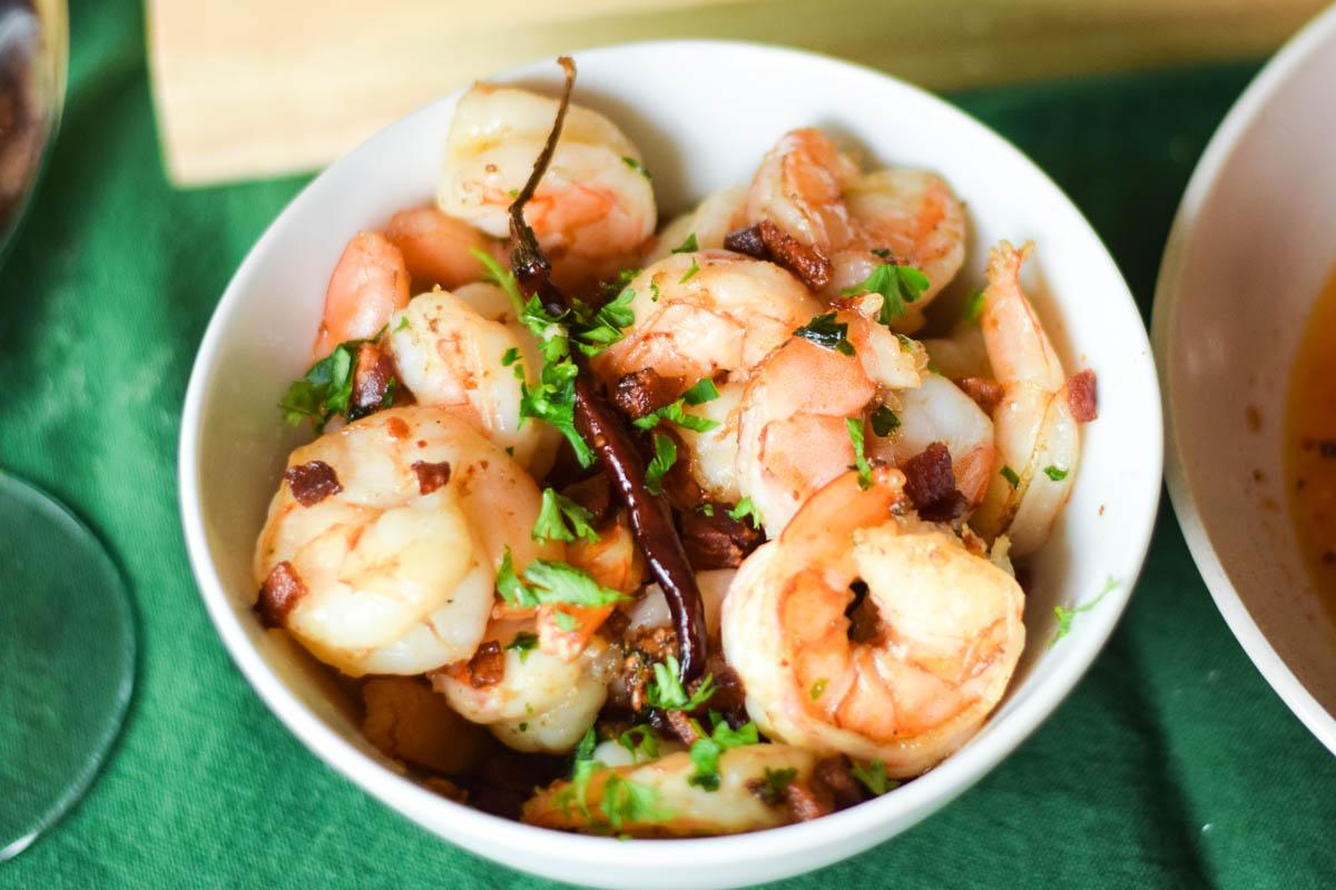 Garlicky Shrimp in Pancetta Olive Oil