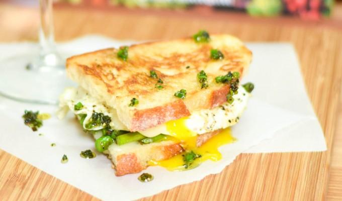 Grilled Asparagus, Taleggio, and Fried Egg Panini #WeekdaySupper