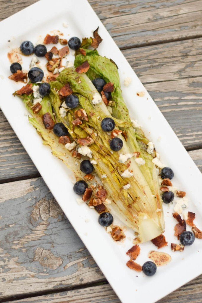 Blueberry, Blue Cheese, and Pecan Grilled Romaine Salad