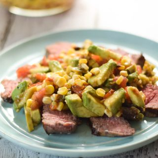 Steak with Grilled Corn Avocado Salad