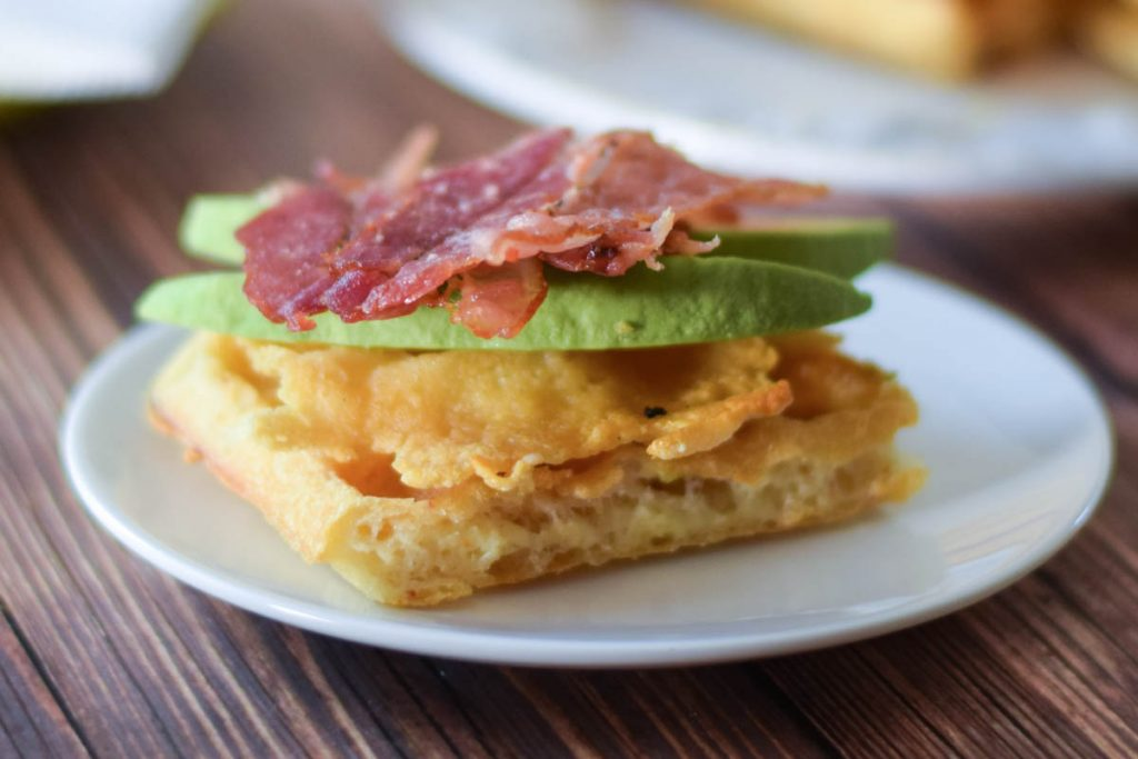 Asiago Chaffle  Egg Waffle Sandwich with avocado and bacon