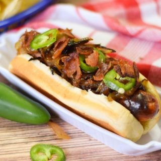 Bourbon Onion Bacon Dog #SundaySupper