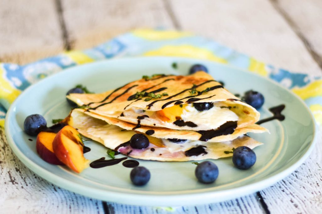 Peach Blueberry Burrata Quesadilla
