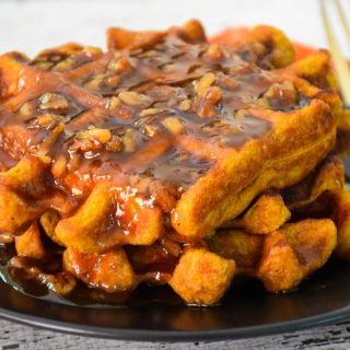Pumpkin Spice Waffles with Pumpkin Praline Syrup #PumpkinWeek