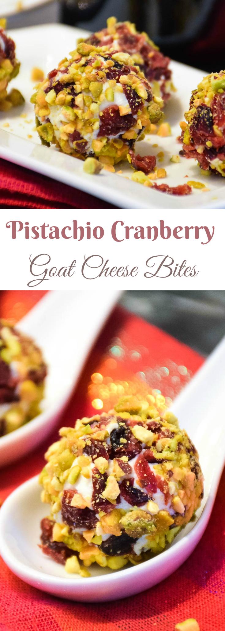 Cranberry Pistachio Goat Cheese Bites
